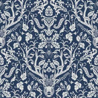 Brewster Wallcovering Navy Escape to the Forest Peel and stick wallpaper 8 in. x 10 in. Sample, Blue - Home Depot