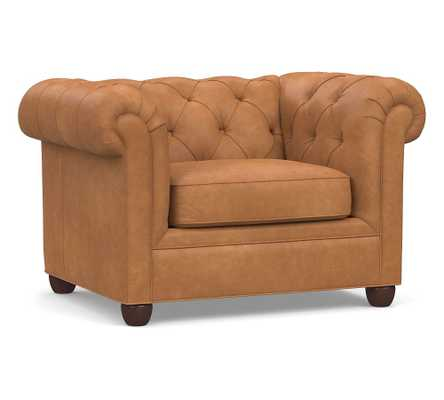 """Chesterfield Roll Arm Leather Grand Armchair 50"""", Polyester Wrapped Cushions, Churchfield Camel - Pottery Barn"""