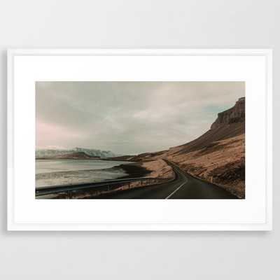 Iceland Road Landscape Framed Art Print by Leah Flores - Vector White - LARGE (Gallery)-26x38 - Society6