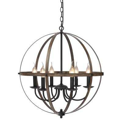 Nerstrand 6 - Light Lantern Globe Chandelier with Wrought Iron Accents - Wayfair