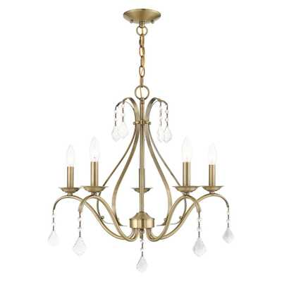 Livex Lighting Caterina 5-Light Antique Brass Crystal Chandelier - Home Depot