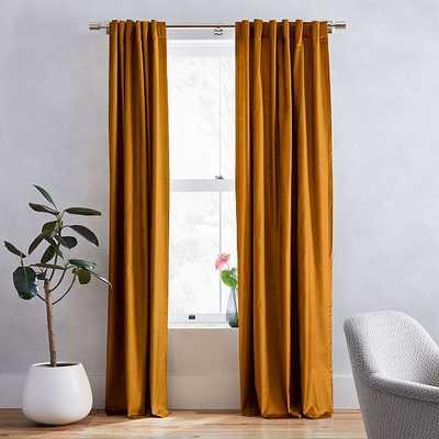 """Luster Velvet Curtain, 48""""x96"""", Golden Oak - West Elm"""