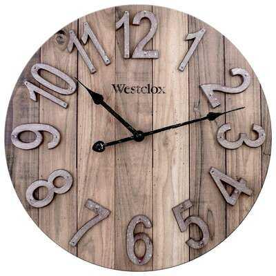 "38070- Westclox 15.5"" MDF Farmhouse Wall Clock With Raised Numbers - Wayfair"