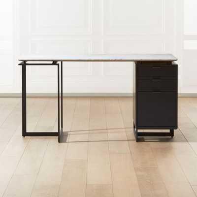 Fullerton Modular White Desk with Black Drawer and Leg - CB2