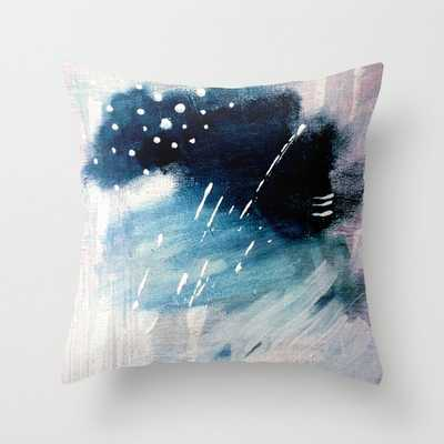 "Meteor Shower - An Abstract Acrylic Piece In Blue And White Couch Throw Pillow by Alyssa Hamilton Art - Cover (20"" x 20"") with pillow insert - Outdoor Pillow - Society6"