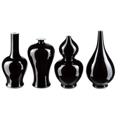 Currey & Company 4 Piece Black Porcelain Table Vase Set - Perigold