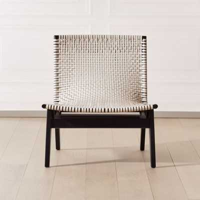 Morada Woven Ivory Leather Chair - CB2