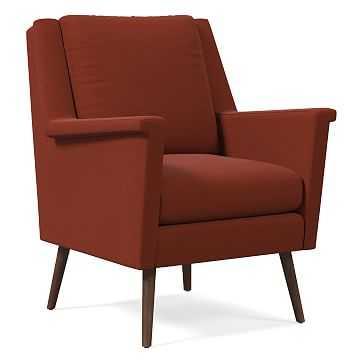 Carlo Mid-Century Chair, Poly, Distressed Velvet, Rust, Pecan - West Elm