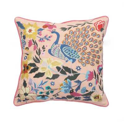 LR Home Peacock Pink Floral Durable Poly-fill 20 in. x 20 in. Throw Pillow - Home Depot