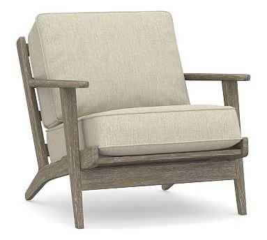 Raylan Upholstered Armchair, Polyester Wrapped Cushions, Chenille Basketweave Oatmeal - Pottery Barn