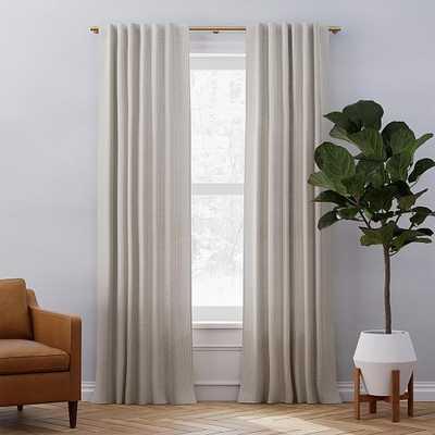 "Belgian Linen Graduated Stripe Curtain, Natural Flax + Espresso, 48""x84"" - West Elm"