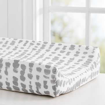 Brushstroke Dot Changing Pad Cover, Gray - West Elm