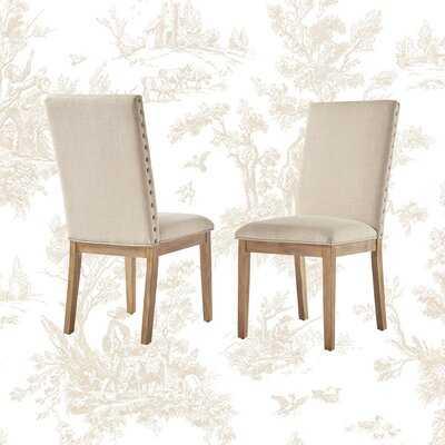 Alayna Linen Nailhead Upholstered Dining Chair - Wayfair