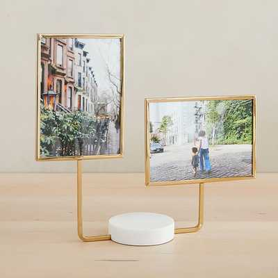 Aaron Probyn Marble Tabletop Frames, Double Frame, White, Antique Brass, 5x7 - West Elm