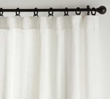 "Custom Classic Belgian Flax Linen Rod Pocket Blackout Curtain, 48 x 108"", Classic Ivory - Pottery Barn"