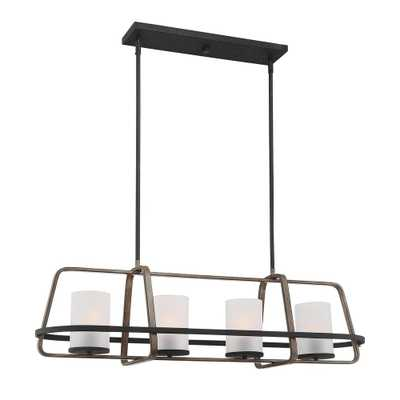 Cordelia Lighting 4-Light Black Wood Tone Linear Chandelier with Etched Seedy Glass Shades - Home Depot