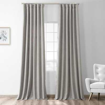 Steely Grey Gray Thermal Room Darkening Heathered Italian Woolen Weave Curtain - 50 in. W x 120 in. L (1 Panel) - Home Depot