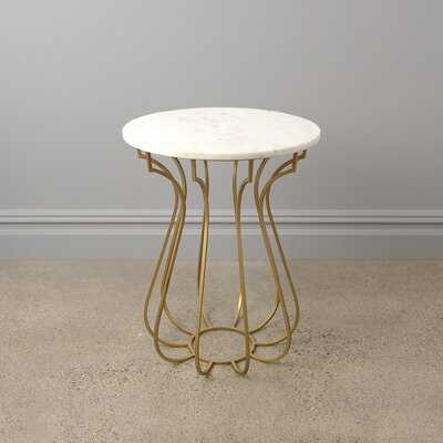 Northtrop Round Marble Side Table With Curved Metal Base - Wayfair