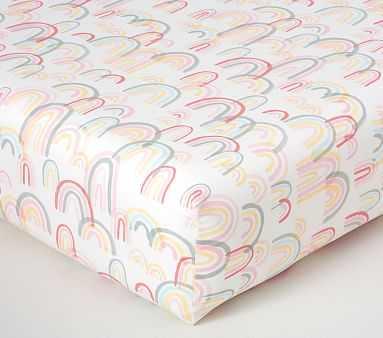 Organic Lennon Rainbows Fitted Crib Sheet, Blush Multi - Pottery Barn Kids