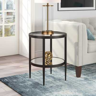 Barbara Glass Top End Table with Storage - Wayfair