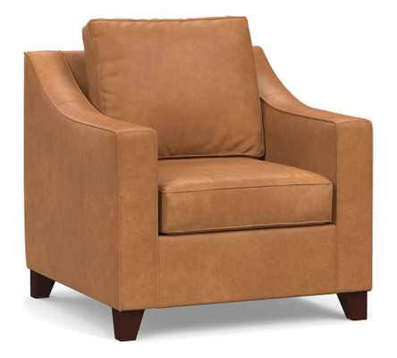 Cameron Slope Arm Leather Armchair, Polyester Wrapped Cushions, Churchfield Camel - Pottery Barn