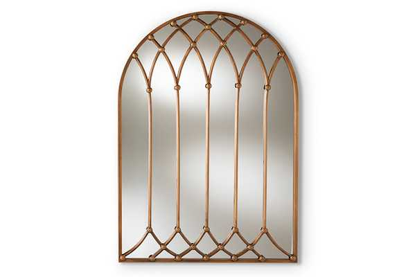 Baxton Studio Freja Vintage Farmhouse Antique Bronze Finished Arched Window Accent Wall Mirror - Lark Interiors