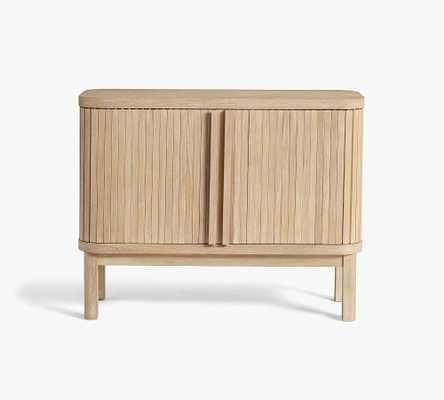 "Arlo Tambour 42""x33"" Mini Bar Cabinet, Fog - Pottery Barn"