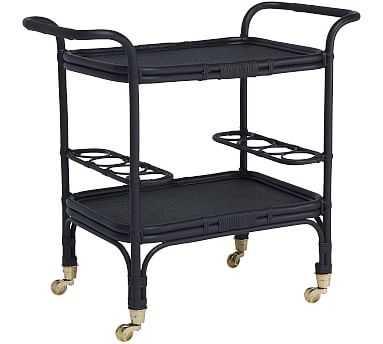 Carlo Rattan Bar Cart, Black - Pottery Barn