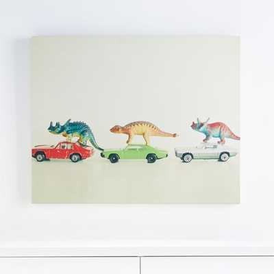 Dinosaurs Ride Cars Canvas Wall Art - Crate and Barrel