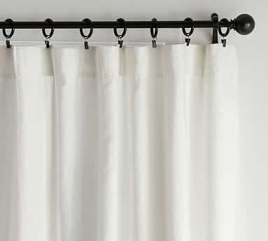 """Classic Belgian Flax Linen Blackout Curtain, Classic Ivory 50 x 108"""", - Pottery Barn"""