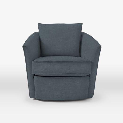 Duffield Swivel Chair - Linen Weave, Regal Blue