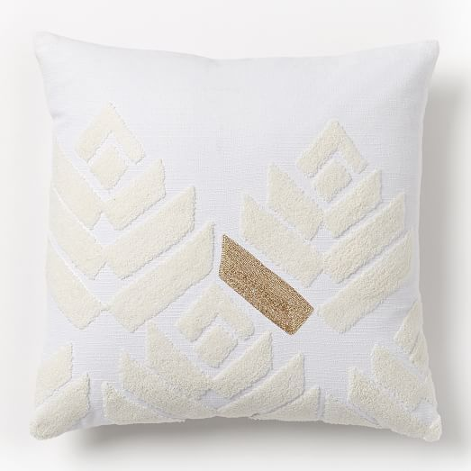 """Flower Buds Pillow Cover - Stone White/Gold- 18"""" x 18"""" insert sold separately"""