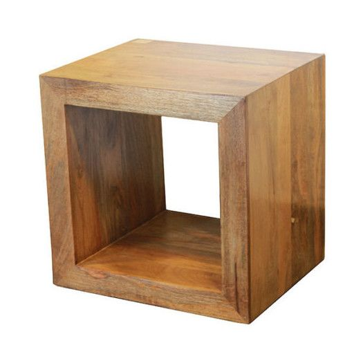 Uniquely Styled Wooden Cube End Table