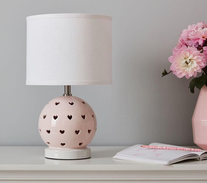 Blush Ceramic Heart Cut Out 3-Way Table Lamp