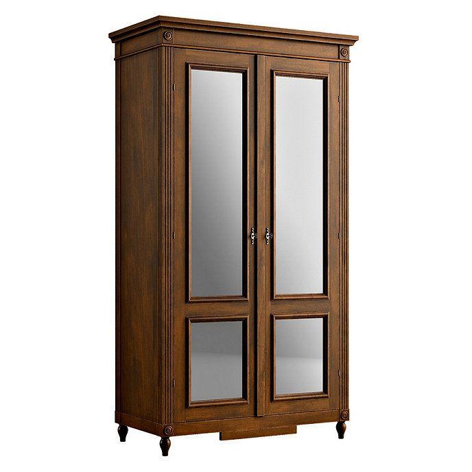 Ballard Designs Casa Florentina Louis XVI Armoire with Mirrored Doors - Stocked- Antique Walnut