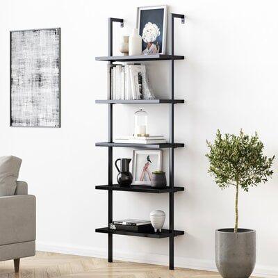 Zachary Metal Ladder Bookcase, Black