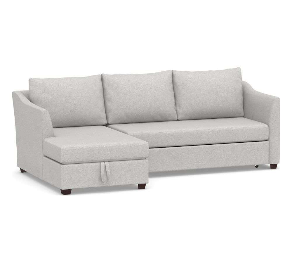 Celeste Upholstered Right Arm Trundle Sleeper with Storage Chaise Sectional, Polyester Wrapped Cushions, Park Weave Ash
