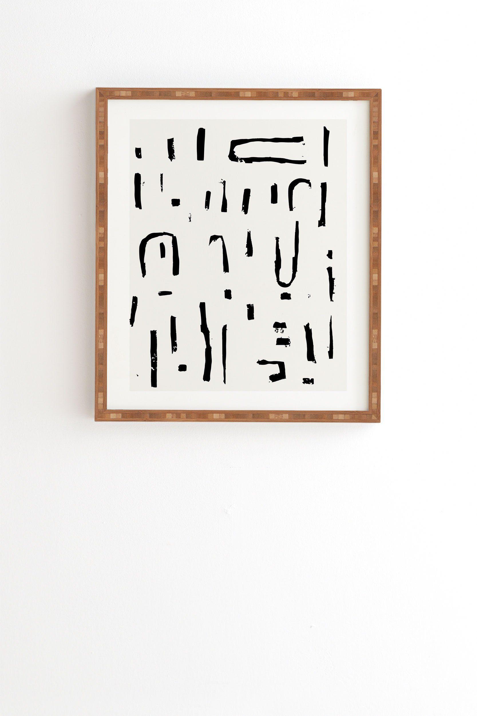 """Abstract Brushstroke Artwork Print, Bamboo Frame, 19"""" x 22.4"""""""