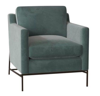 Caracole Classic Sit a Spell Armchair Body Fabric: Spa Velvet, Leg Color: Midnight