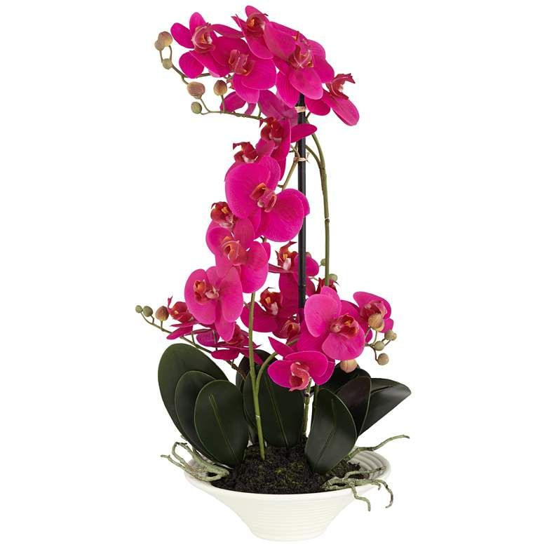 """Pink Orchid 24"""" High Faux Flowers in White Pot"""