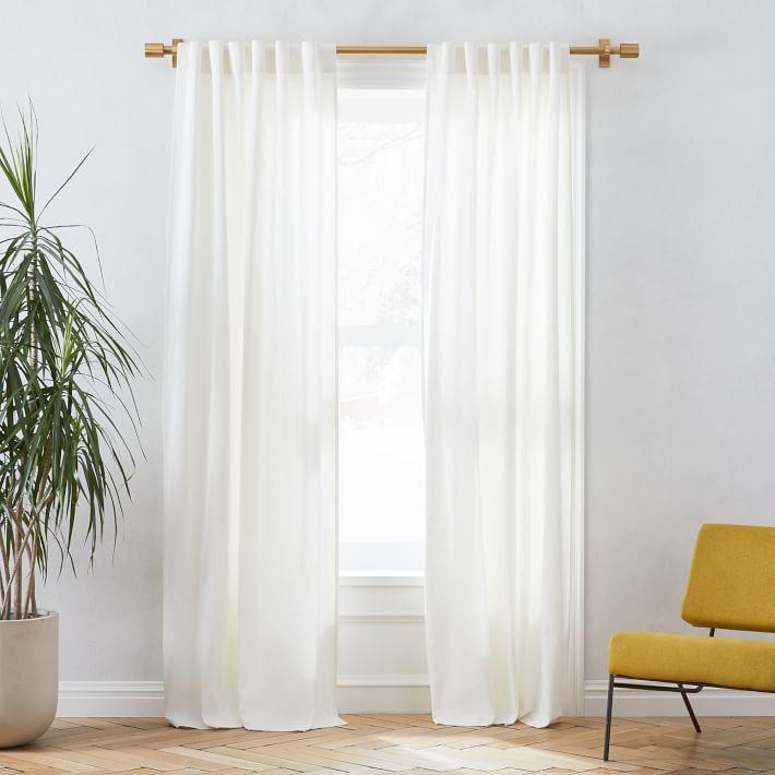 "Linen Cotton Pole Pocket Curtain + Blackout Panel, White, 48""x84"""