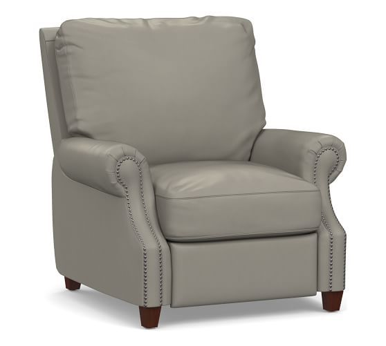 James Leather Recliner, Down Blend Wrapped Cushions, Burnished Bourbon