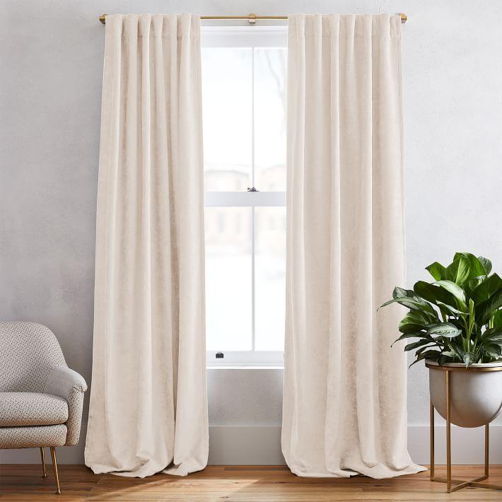 """Worn Velvet Curtain, ivory, unlined, 108"""""""
