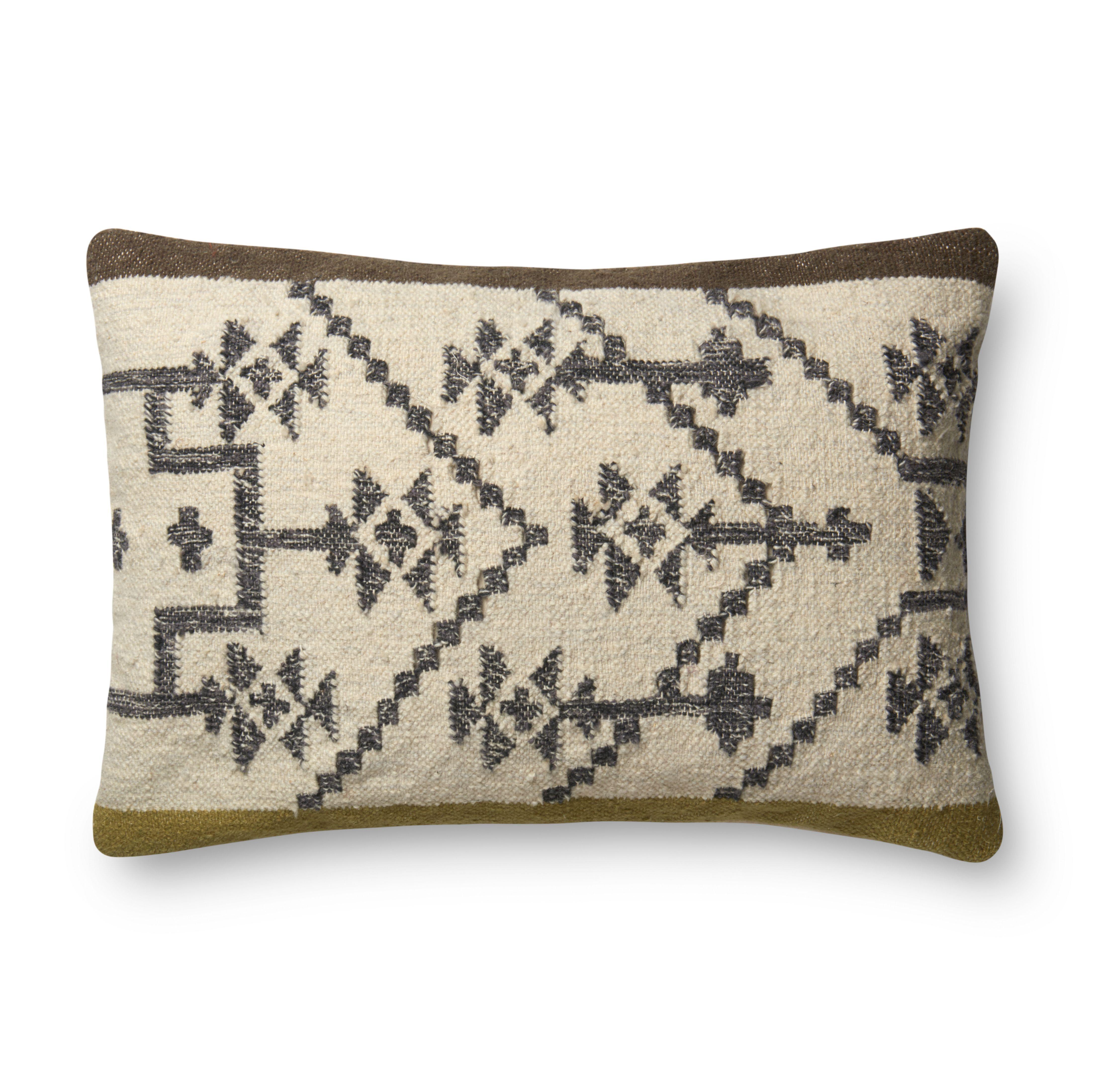 """Lumbar Pillow, Olive & Taupe, 16"""" x 26"""""""