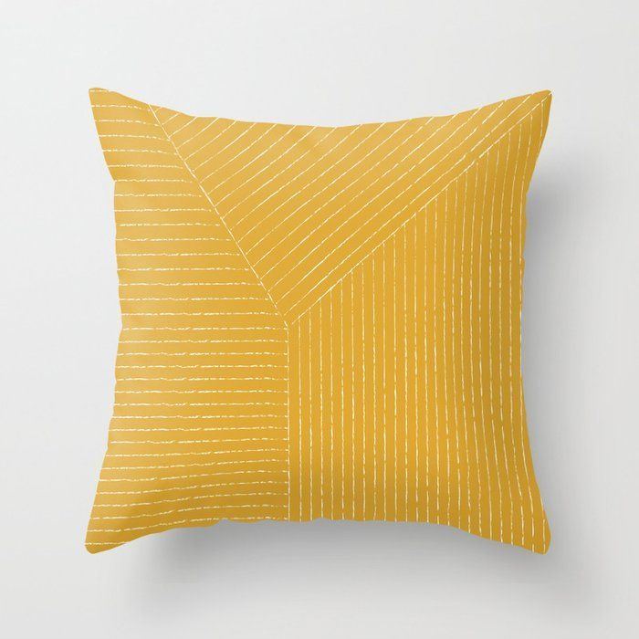 Lines / Yellow Throw Pillow