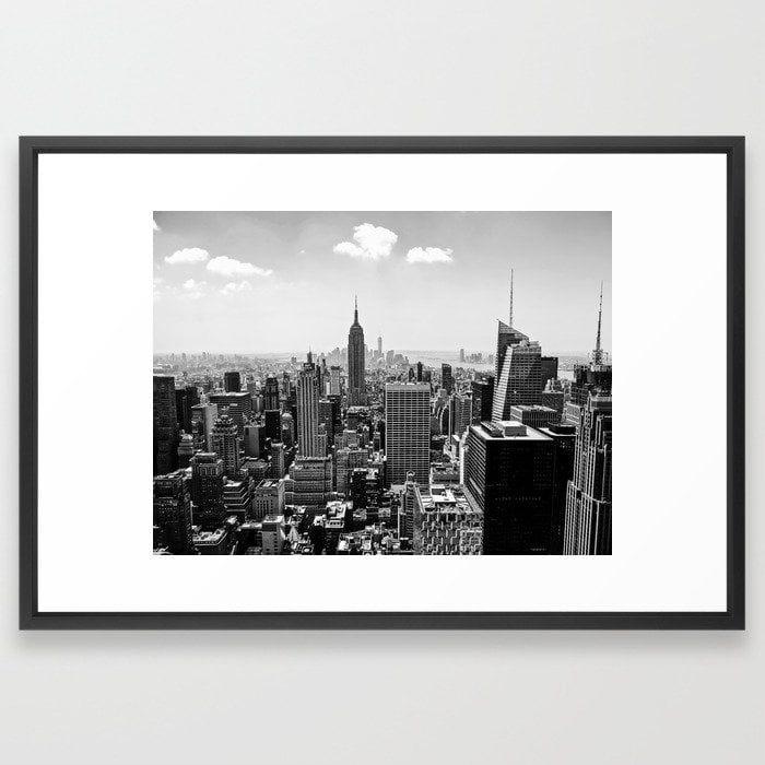 New York Skyline Framed Art Print - 26x38 - vector black frame
