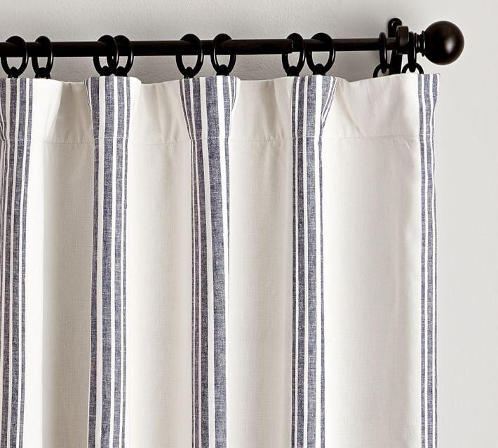 "Riviera Striped Linen/Cotton Blackout Curtain, 50 X 96"", Navy"