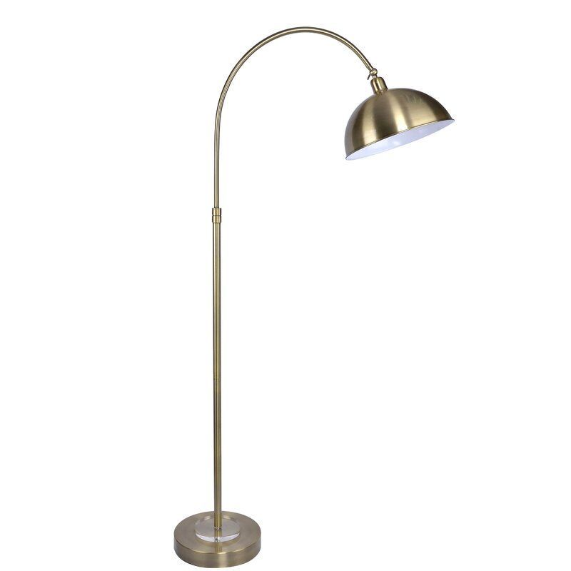 63.5 in. Gold Plated Task Lamp with Arched Base and Gold Plated Metal Dome Shade