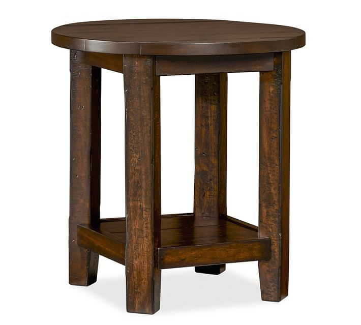 Benchwright Round Side Table, Rustic Mahogany