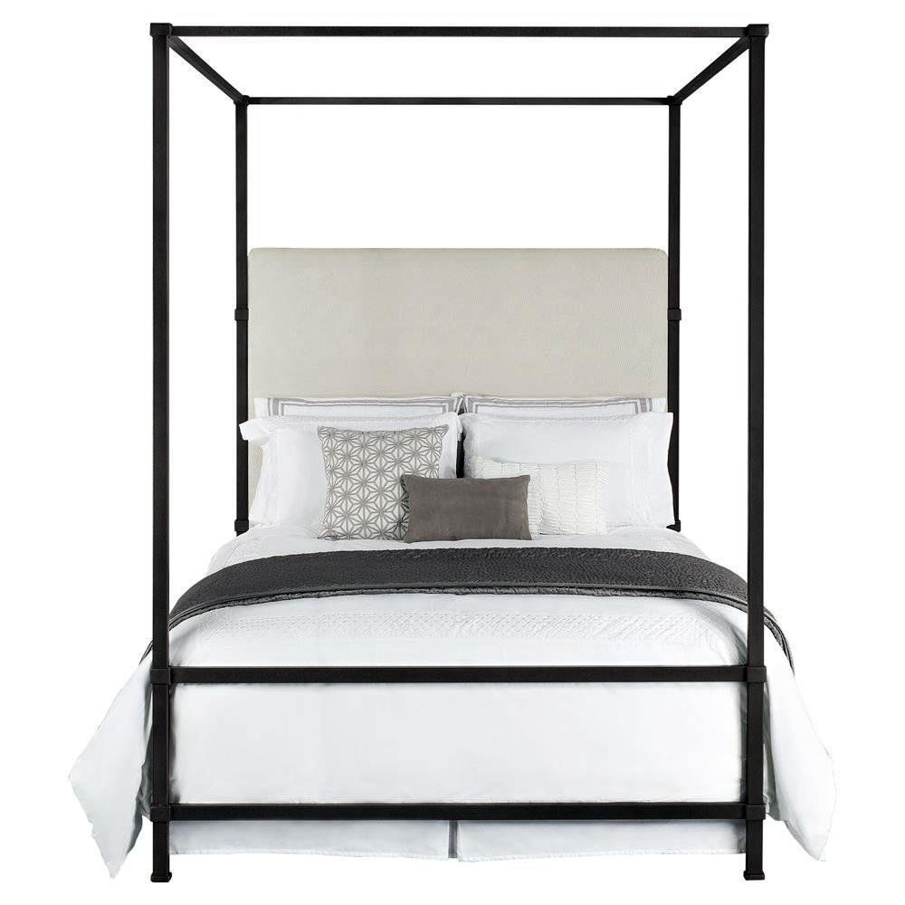 Quade Upholstered Iron Canopy Four Poster Bed - King